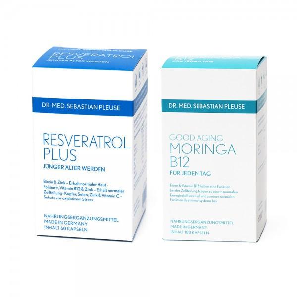Resveratrol Plus & GoodAging Moringa B12 im Set (1 Monat, MHD naht)